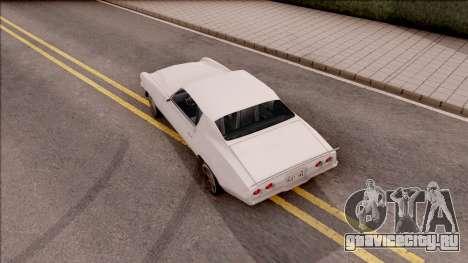 Chevrolet Camaro Z28 1970 SA Style Low Poly для GTA San Andreas вид сзади