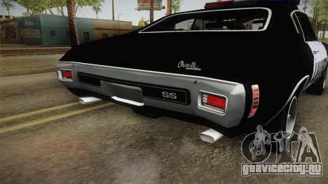 Chevrolet Chevelle SS Police LVPD 1970 v2 для GTA San Andreas салон