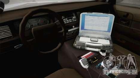 Ford Crown Victoria Police v1 для GTA San Andreas вид изнутри