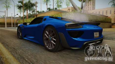 Porsche 918 Spyder Weissach Package 2015 для GTA San Andreas вид справа