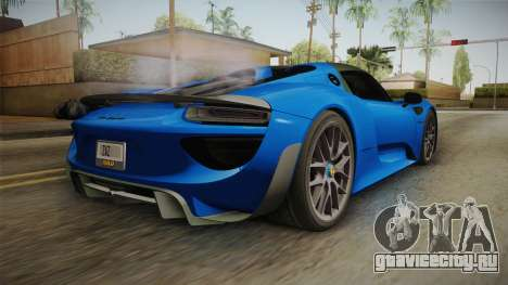 Porsche 918 Spyder Weissach Package 2015 для GTA San Andreas вид слева