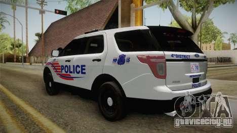 Ford Explorer 2013 Police для GTA San Andreas вид сзади слева