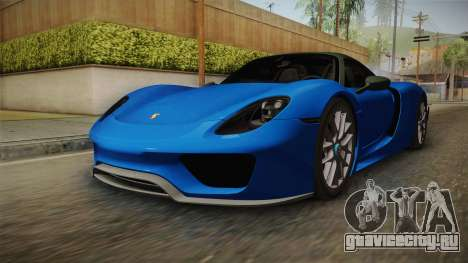 Porsche 918 Spyder Weissach Package 2015 для GTA San Andreas вид сзади слева