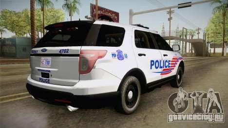 Ford Explorer 2013 Police для GTA San Andreas вид слева