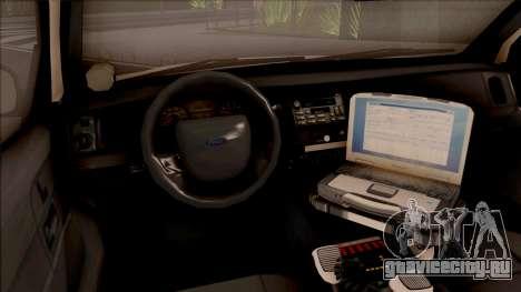 Ford Crown Victoria 2010 OS Highway Patrol для GTA San Andreas вид изнутри