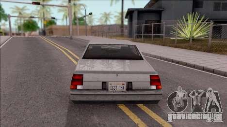 GTA IV Declasse Sabre для GTA San Andreas вид сзади слева