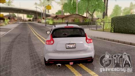 Nissan Juke Nismo RS 2014 v2 для GTA San Andreas вид сзади слева