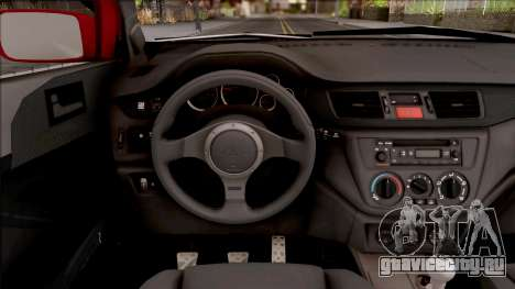 Mitsubishi Lancer Ralliart 2007 для GTA San Andreas вид изнутри