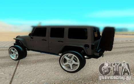 Jeep Rubicon 2012 V3 для GTA San Andreas вид сзади слева
