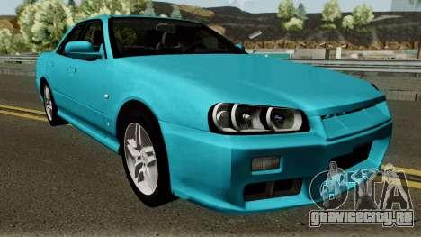 Nissan Skyline R34 Sedan 1999 для GTA San Andreas вид изнутри