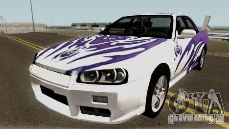 Nissan Skyline R34 Sedan 1999 для GTA San Andreas вид сбоку