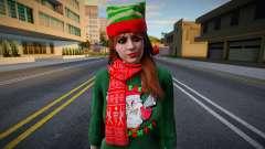 Девушка в новогодней одежде 2 для GTA San Andreas